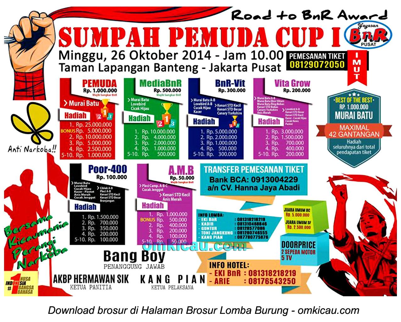 Brosur Lomba Burung Berkicau Sumpah Pemuda Cup I, Jakarta, 26 Oktober 2014