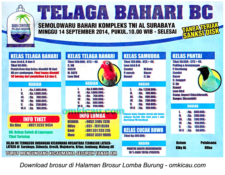 Brosur Lomba Burung Berkicau Telaga Bahari BC, Surabaya, 14 September 2014