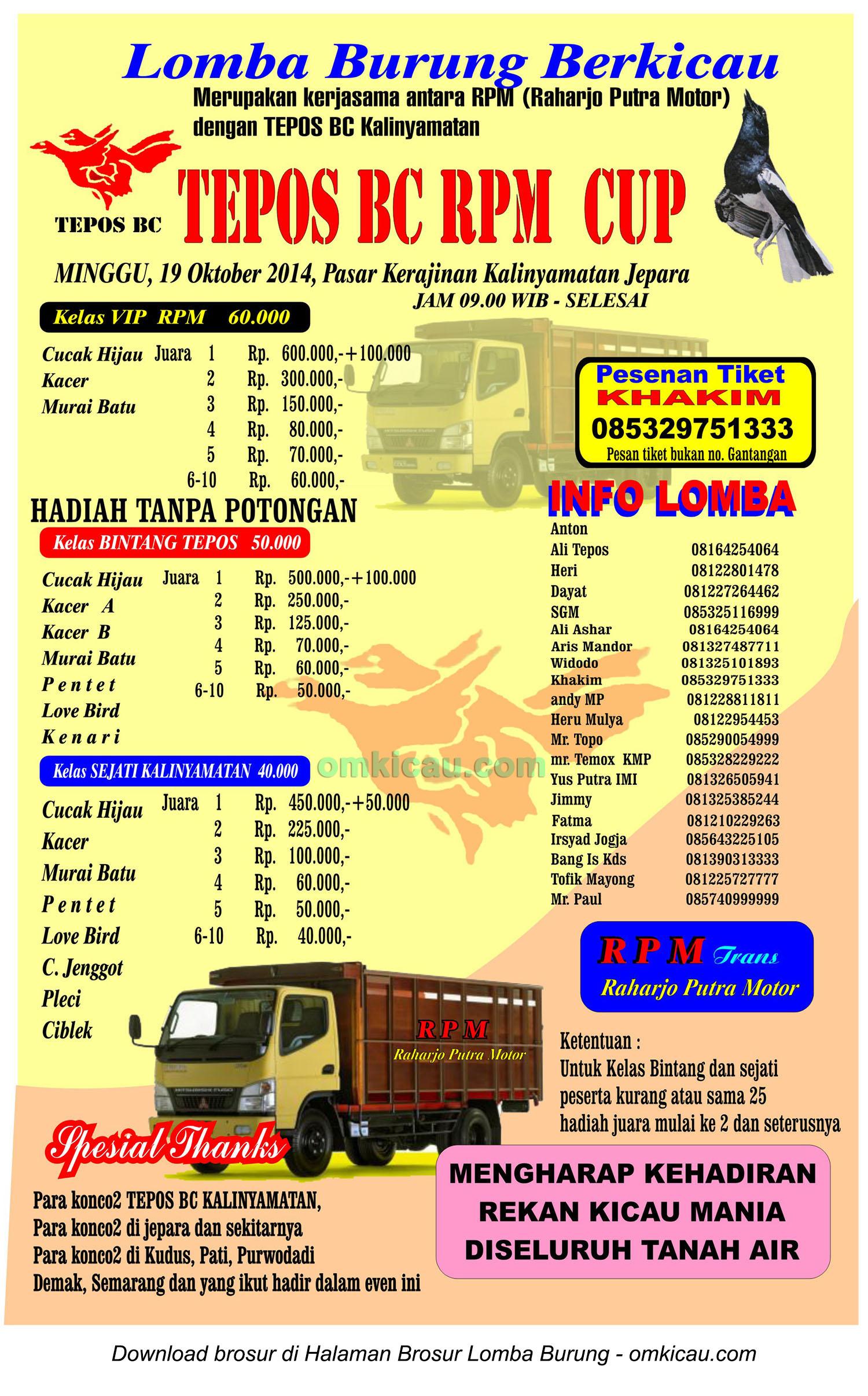 Brosur Lomba Burung Berkicau Tepos BC RPM Cup, Jepara, 19 Oktober 2014