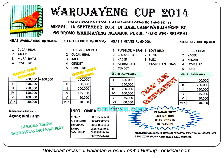 Brosur Lomba Burung Berkicau Warujayeng Cup, Nganjuk, 14 September 2014
