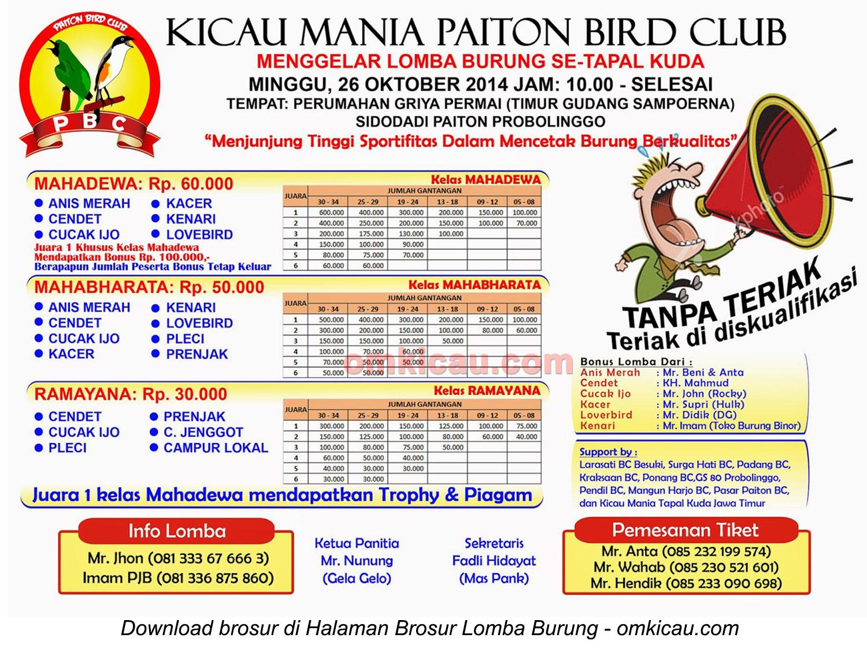Brosur Lomba Burung Kicau Mania Paiton BC, Probolinggo, 26 Oktober 2014