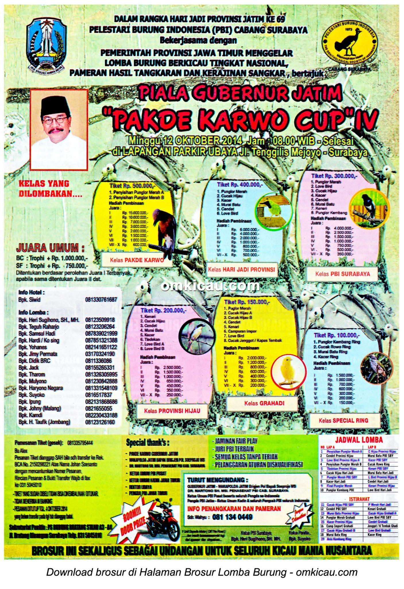 Brosur Lomba Burung Pakde Karwo Cup, Surabaya, 12 Oktober 2014
