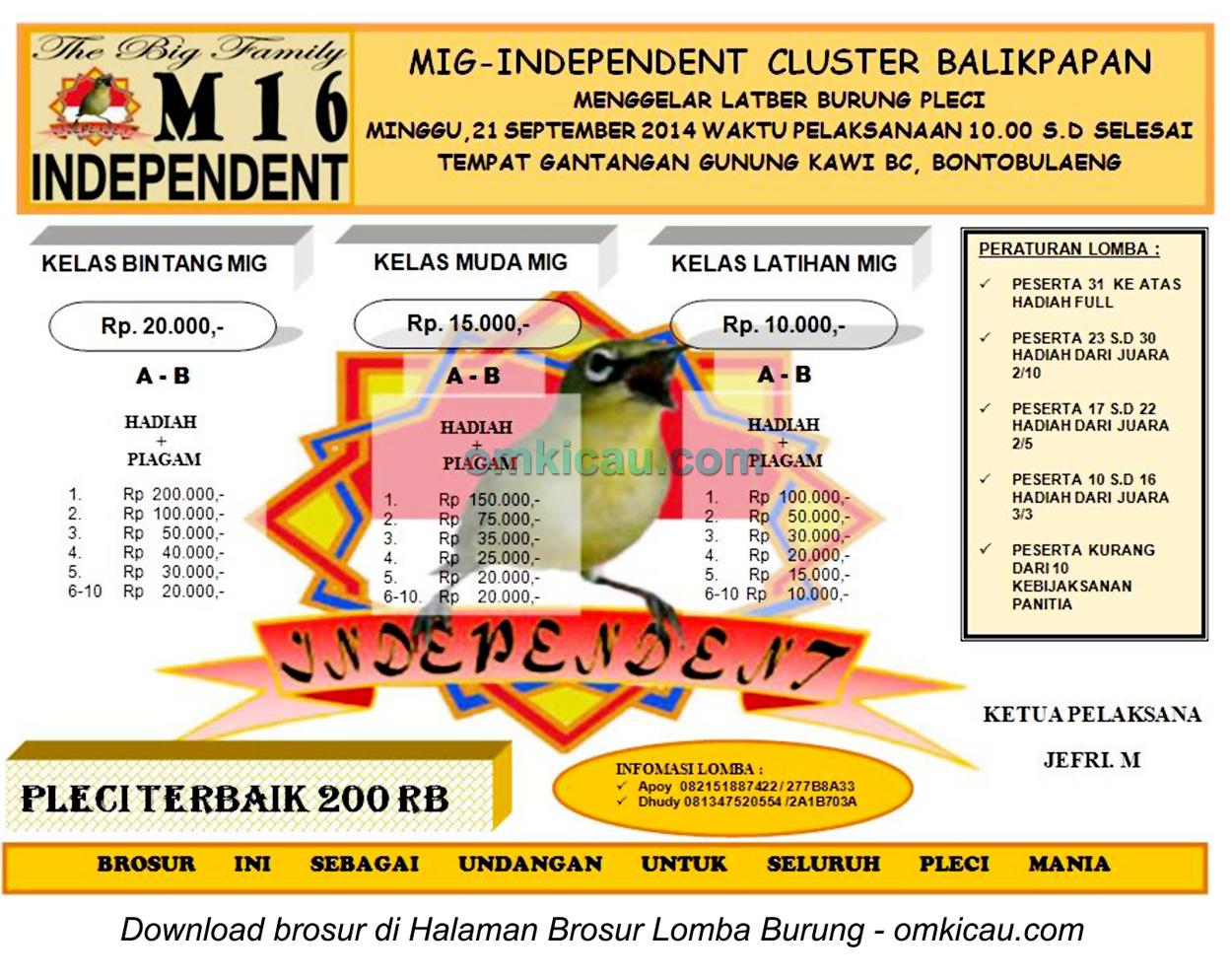 Brosur Lomba Burung Pleci MIG Independent, Balikpapan, 21 September 2014