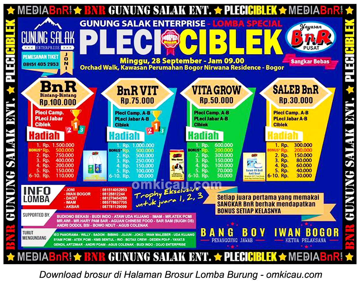 Brosur Lomba Special Pleci & Ciblek, Bogor, 28 September 2014