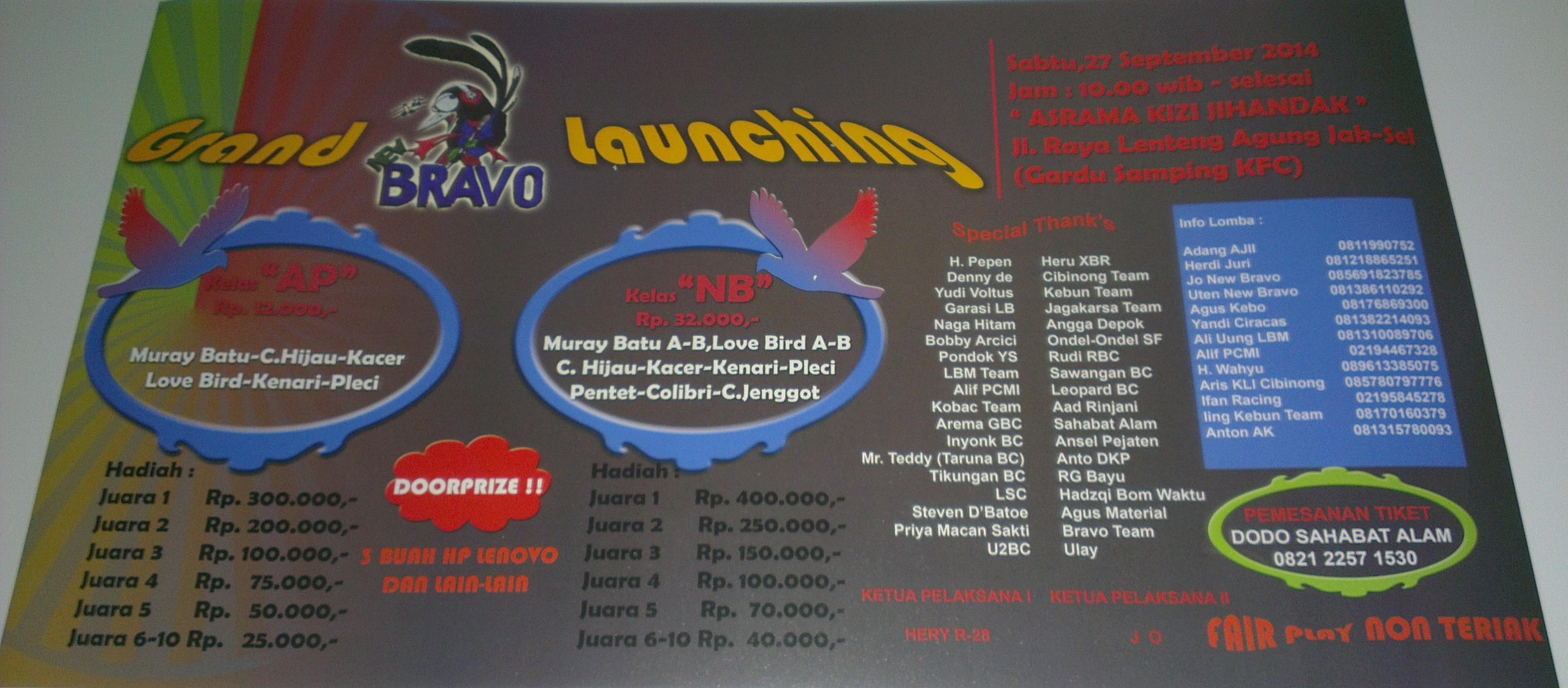 Brosur Lomba Burung Berkicau Grand Launching New Bravo, Jakarta Selatan, 27 September 2014