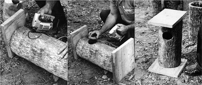 membuat kotak sarang dari batang pohon