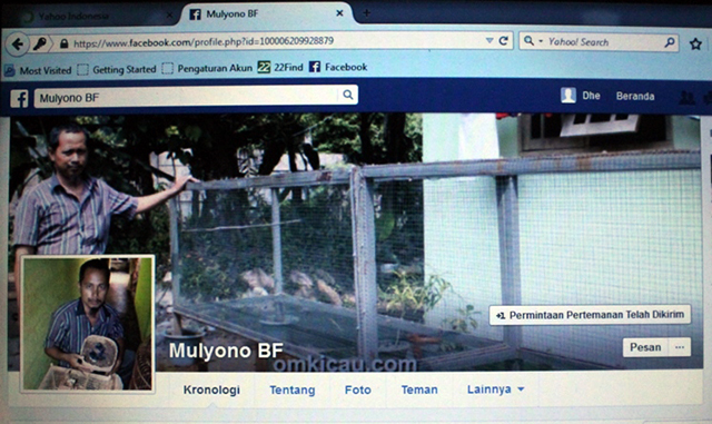 Nama Mulyono BF dicatut di facebook