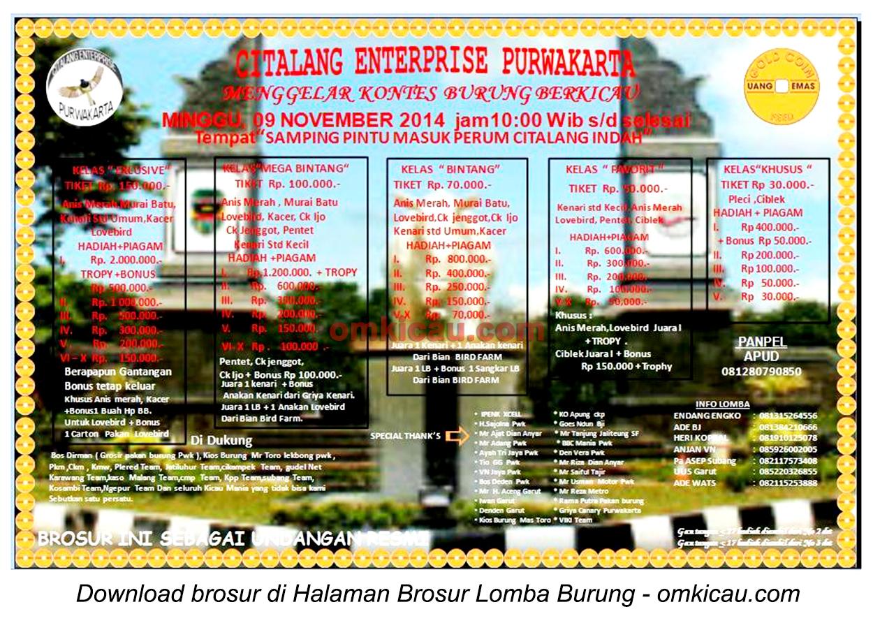 Brosur Kontes Burung Berkicau Citalang Enterprise, Purwakarta, 9 November 2014