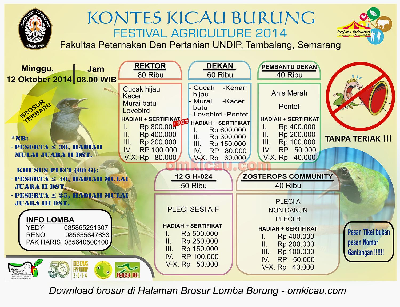 Brosur Kontes Kicau Burung Festival Agriculture 2014, Semarang, 12 Oktober 2014