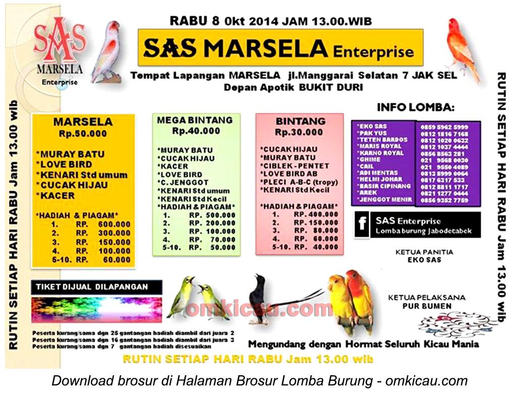 Brosur Latber SAS Marsela Enterprise, Jakarta Selatan 8 Oktober 2014
