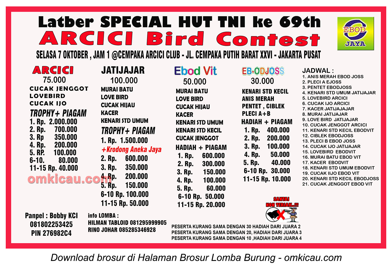 Brosur Latber Spesial HUT Ke-69 TNI - Arcici, Jakarta, 7 Oktober 2014