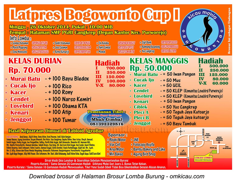Brosur Latpres Bogowonto Cup I, Purworejo, 26 Oktober 2014
