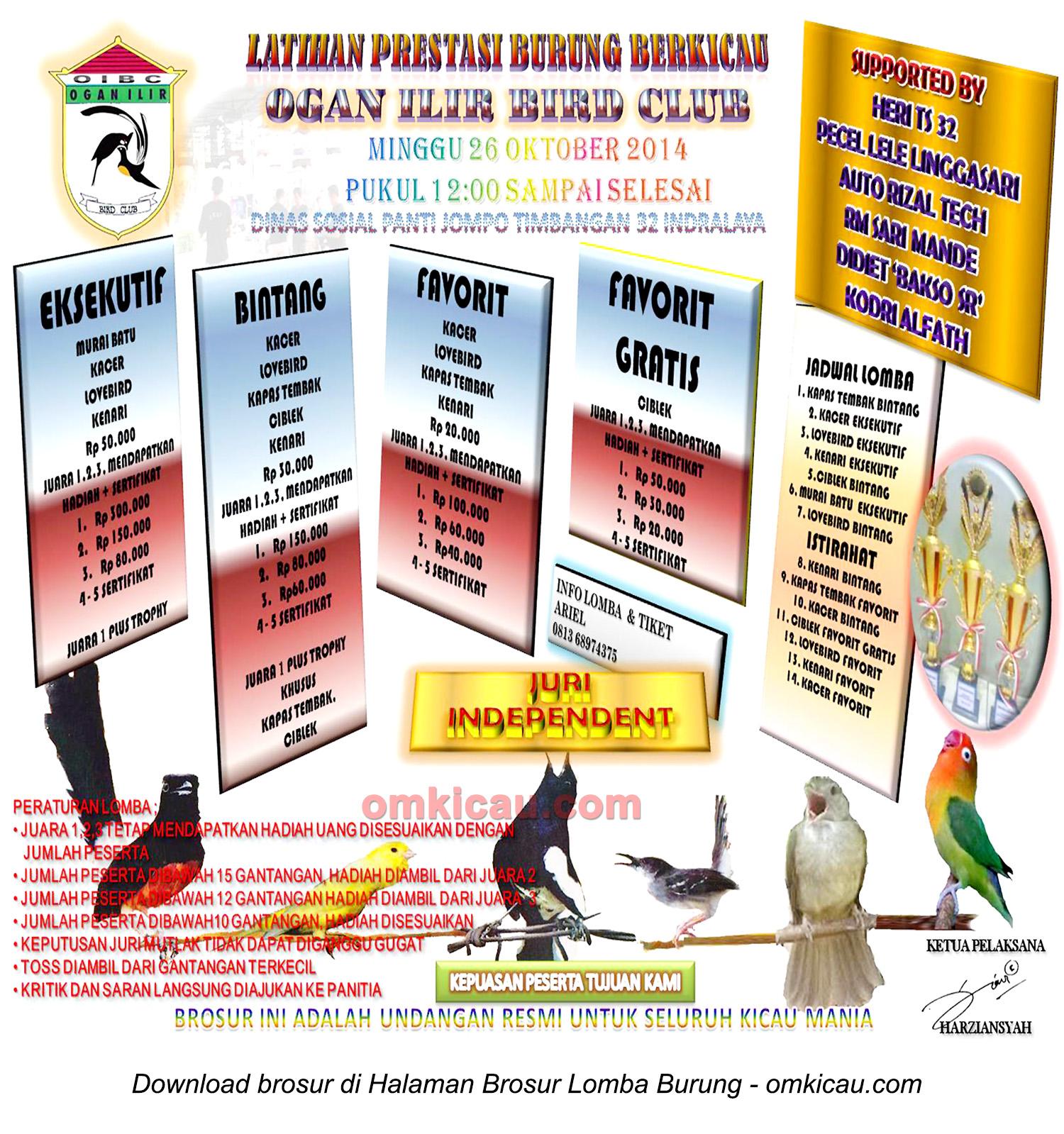 Brosur Latpres Burung Berkicau Ogan Ilir BC, Indralaya, 26 Oktober 2014