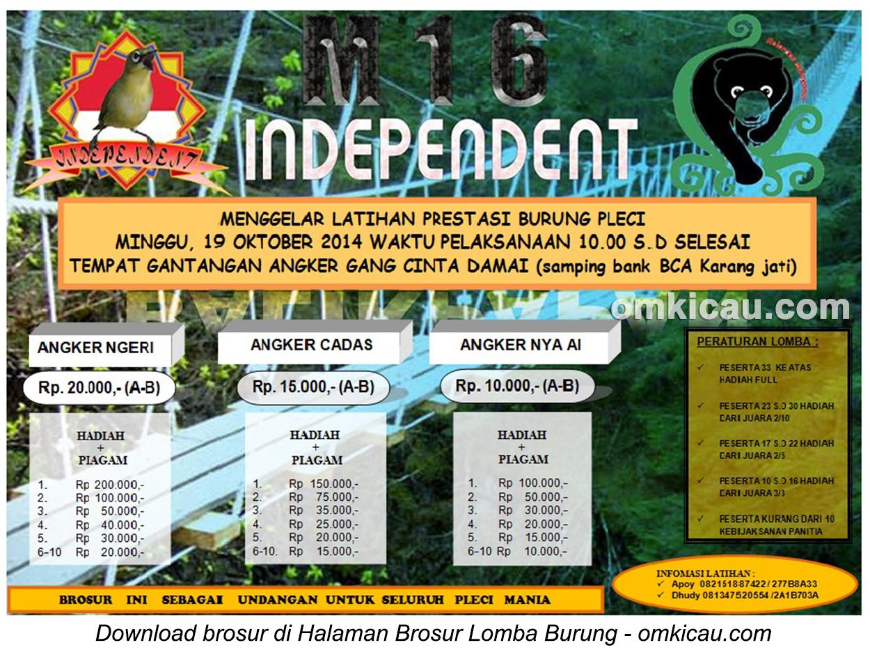 Brosur Latpres Burung Pleci M16 Independent, Balikpapan, 19 Oktober 2014