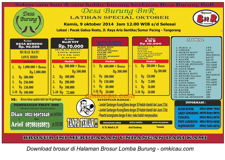Brosur Latpres Desa Burung BnR, Tangerang, 9 Oktober 2014