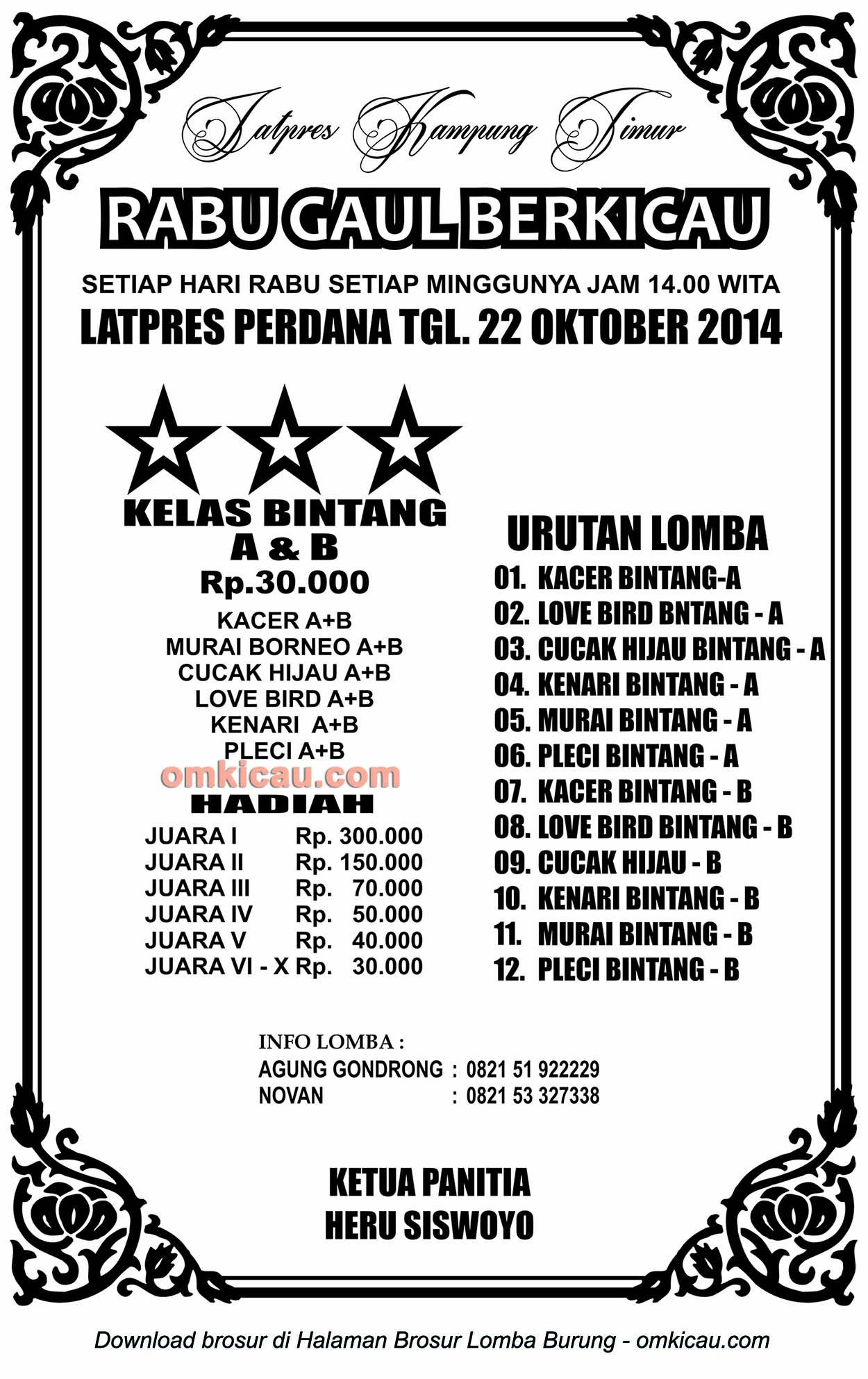 Brosur Latpres Rabu Gaul Berkicau, Balikpapan, 22 Oktober 2014