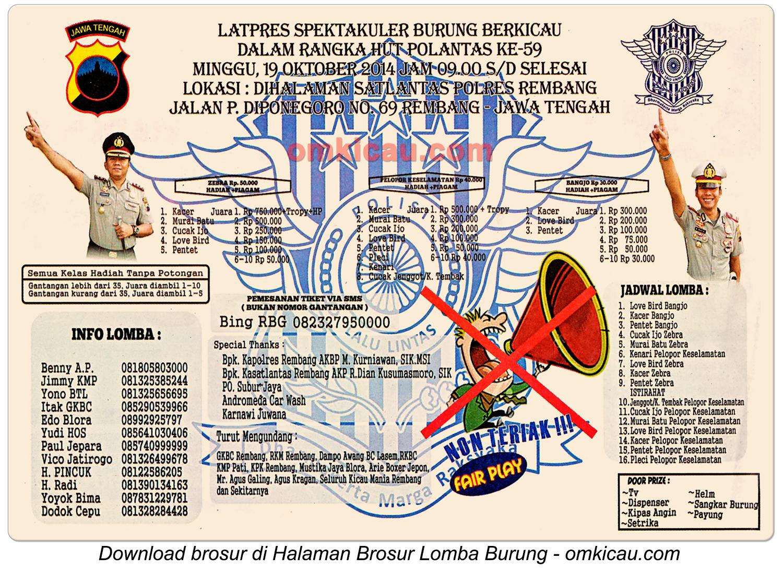 Brosur Latpres Spektakuler HUT Ke-59 Polantas, Rembang, 19 Oktober 2014