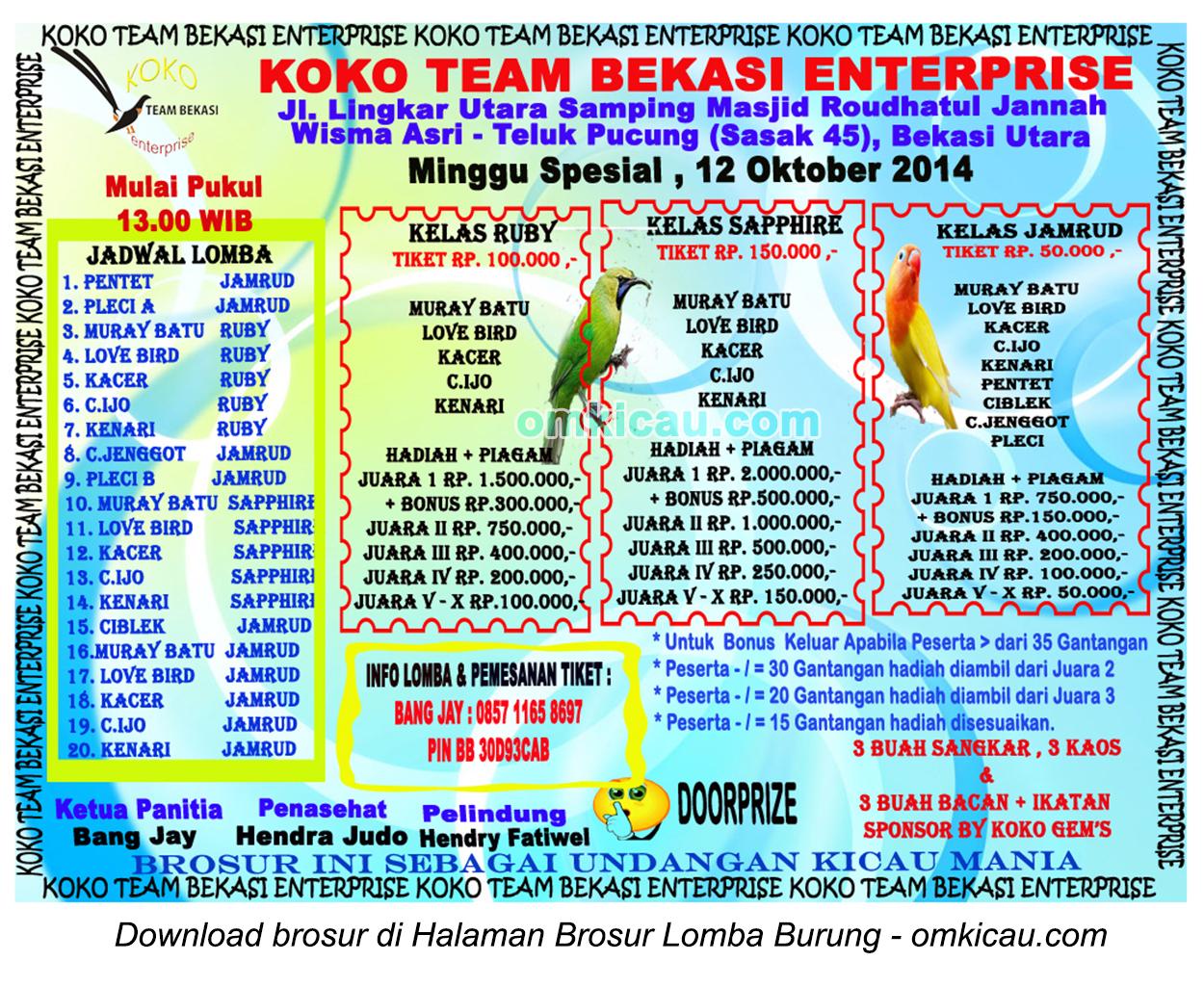 Brosur Latpres Spesial Koko Team Enterprise, Bekasi Utara, 12 Oktober 2014