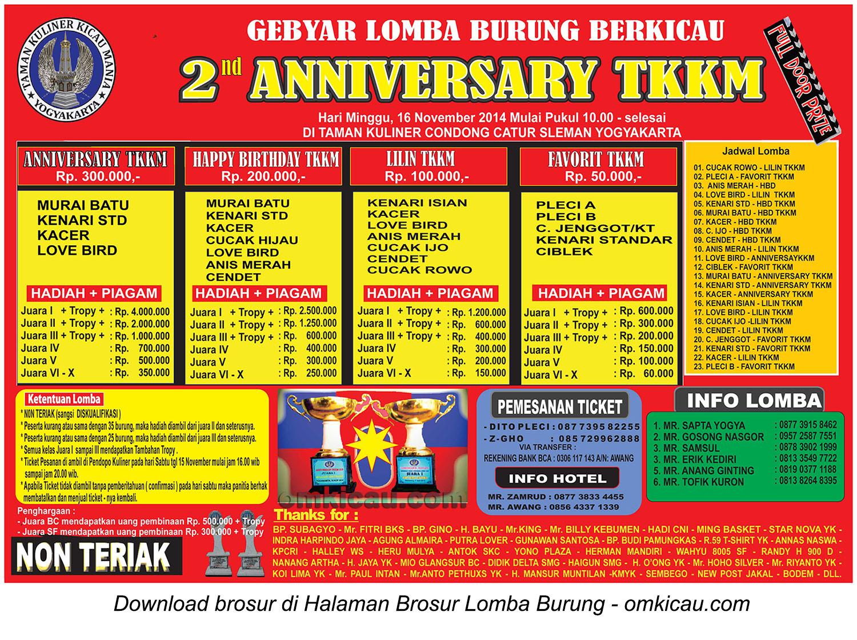 Brosur Lomba Burung Berkicau 2nd Anniversary TKKM, Jogja, 16 November 2014