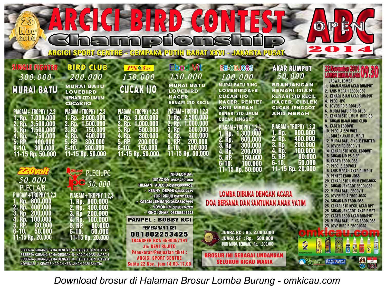 Brosur Lomba Burung Berkicau ABC Open, Jakarta, 23 November 2014