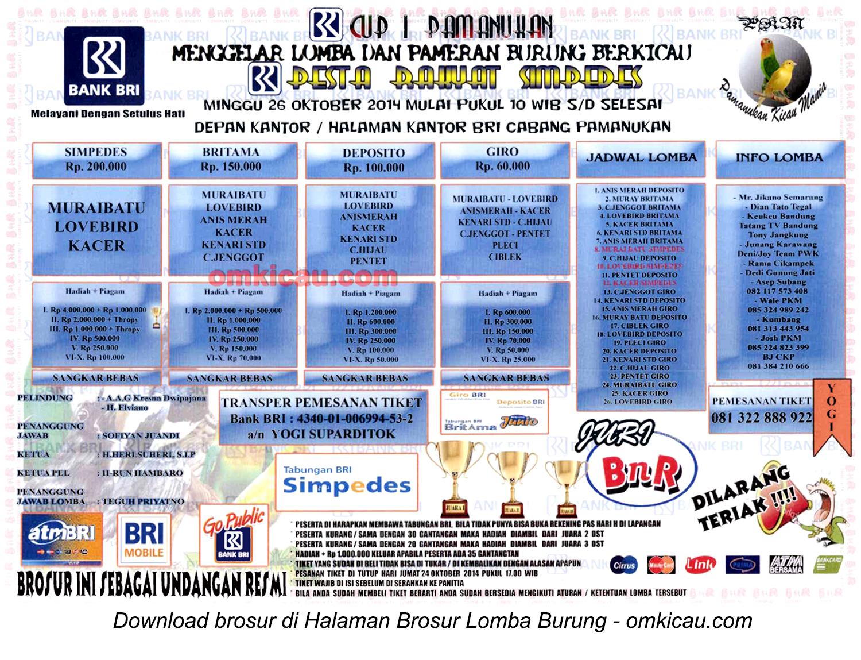 Brosur Lomba Burung Berkicau BRI Cup I, Pamanukan, 26 Oktober 2014