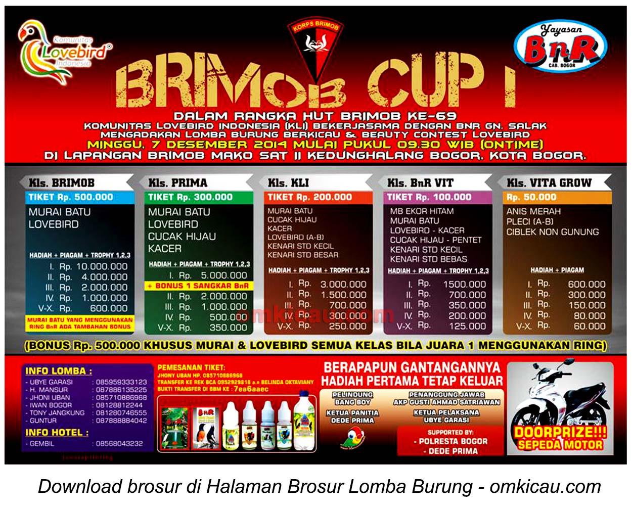 Brosur Lomba Burung Berkicau Brimob Cup I, Bogor, 7 Desember 2014