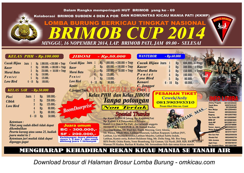 Brosur Lomba Burung Berkicau Brimob Cup, Pati, 16 November 2014