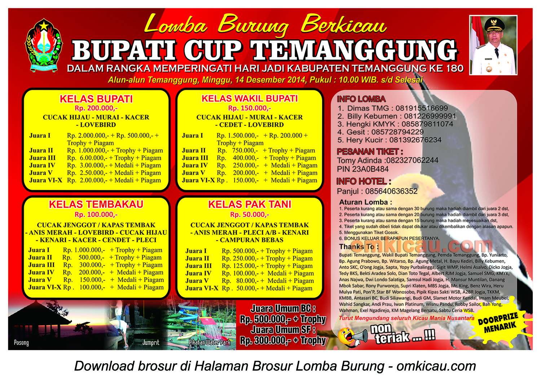 Brosur Lomba Burung Berkicau Bupati Cup, Temanggung, 14 Desember 2014
