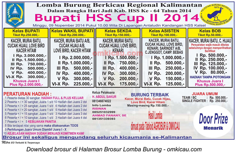 Brosur Lomba Burung Berkicau Bupati HSS Cup II, Kandangan-HSS, 9 November 2014