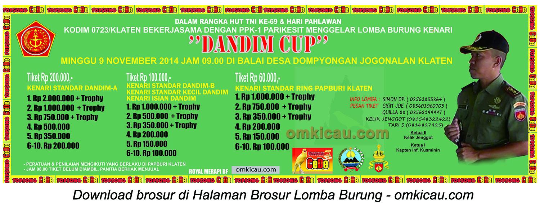 Brosur Lomba Burung Berkicau Dandim Cup, Klaten, 9 November 2014