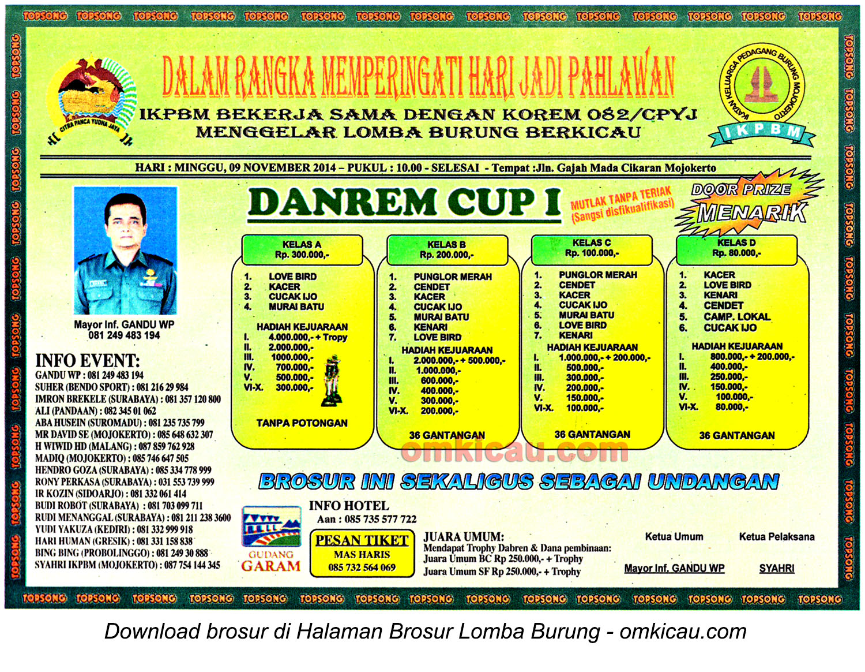 Brosur Lomba Burung Berkicau Danrem Cup I, Mojokerto, 9 November 2014