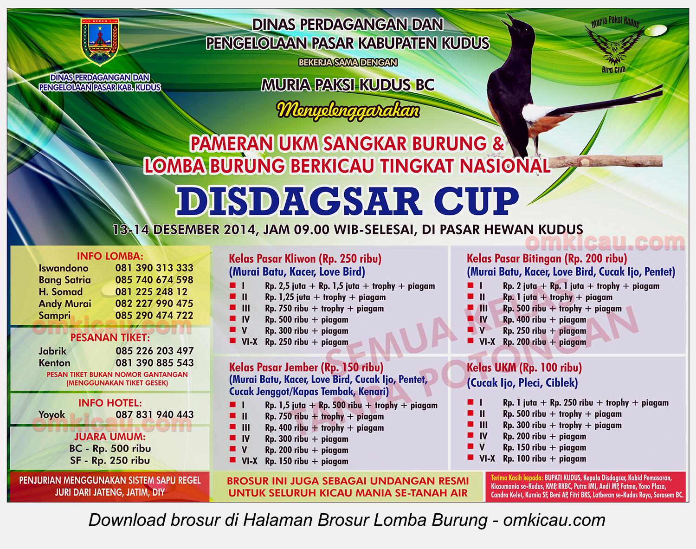 Brosur Lomba Burung Berkicau Disdagsar Cup, Kudus, 14 Desember 2014