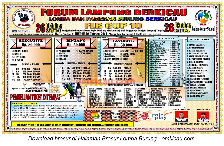 Brosur Lomba Burung Berkicau FLB Cup 10, Lampung Tengah, 26 Oktober 2014