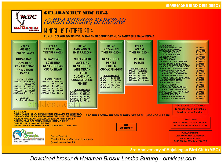 Brosur Lomba Burung Berkicau HUT Ke-3 MBC, Majalengka, 19 Oktober 2014