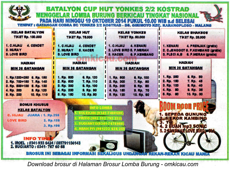 Brosur Lomba Burung Berkicau HUT Yonkes 2-2 Kostrad, Malang, 19 Oktober 2014
