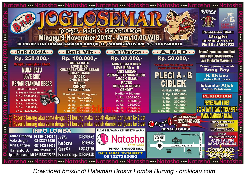 Brosur Lomba Burung Berkicau Joglosemar, Jogja, 9 November 2014