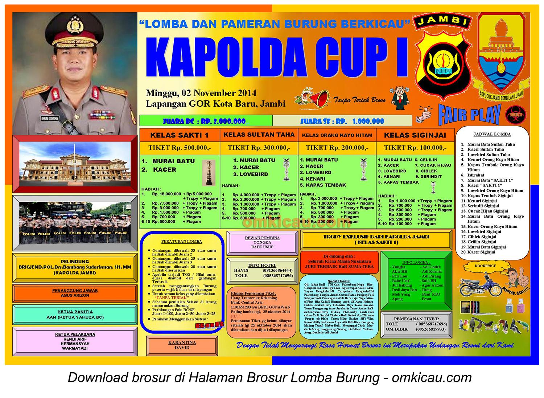 Brosur Lomba Burung Berkicau Kapolda Cup I, Jambi, 2 November 2014