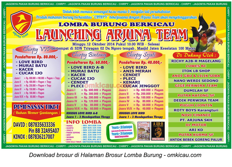 Brosur Lomba Burung Berkicau Launching Arjuna Team, Sukoharjo, 12 Oktober 2014