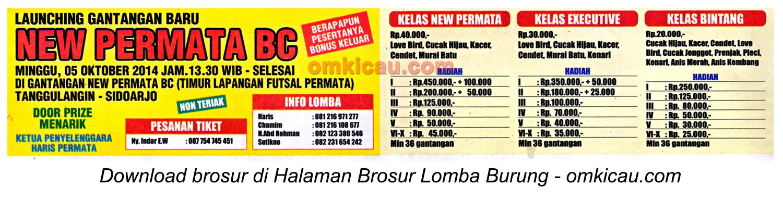 Brosur Lomba Burung Berkicau New Permata BC, Sidoarjo, 5 Oktober 2014