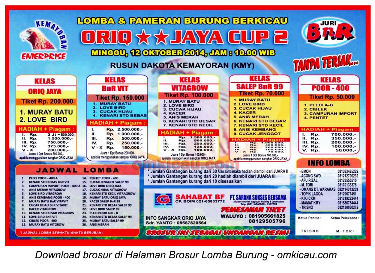 Brosur Lomba Burung Berkicau Oriq Jaya Cup 2, Jakarta, 12 Oktober 2014