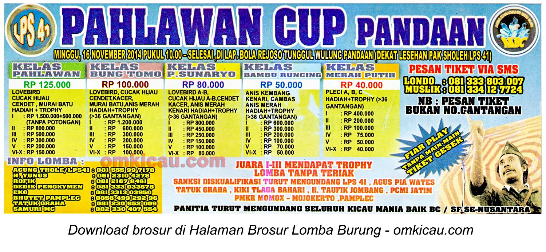 Brosur Lomba Burung Berkicau Pahlawan Cup, Pandaan-Pasuruan, 16 November 2014