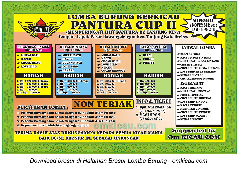 Brosur Lomba Burung Berkicau Pantura Cup II, Brebes, 9 November 2014