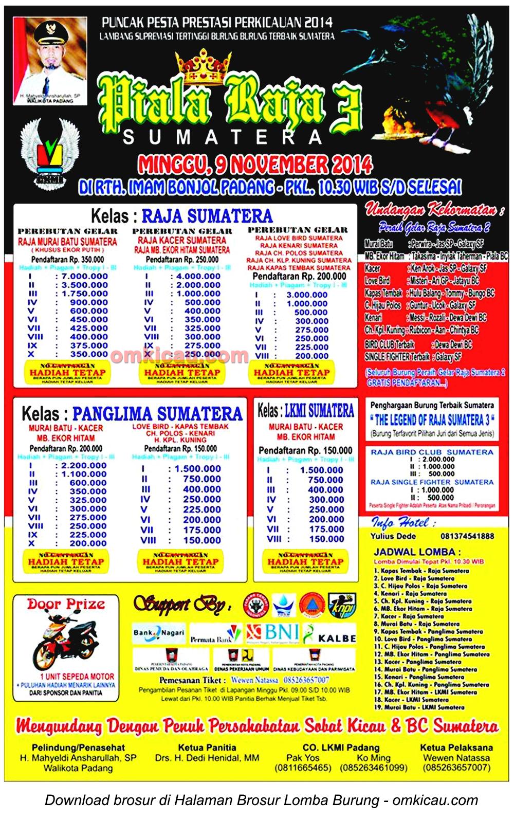 Brosur Lomba Burung Berkicau Piala Raja Sumatera 3, Padang, 9 November 2014