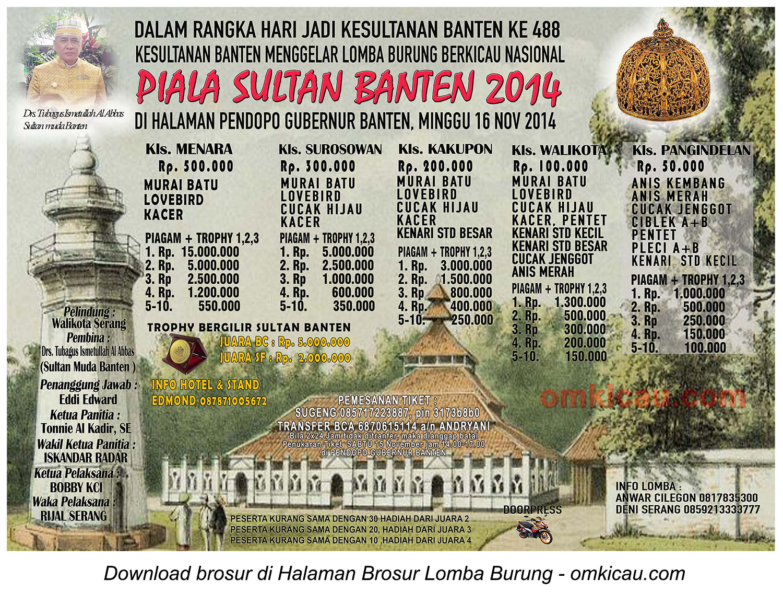 Brosur Lomba Burung Berkicau Piala Sultan Banten, Serang, 16 November 2014