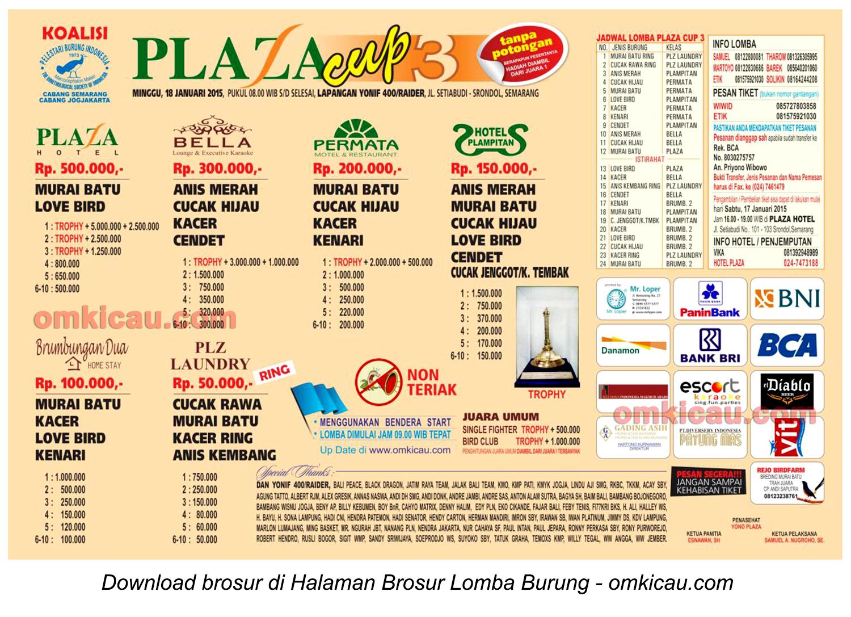 Brosur Lomba Burung Berkicau Plaza Cup3, Semarang, 18 Januari 2015