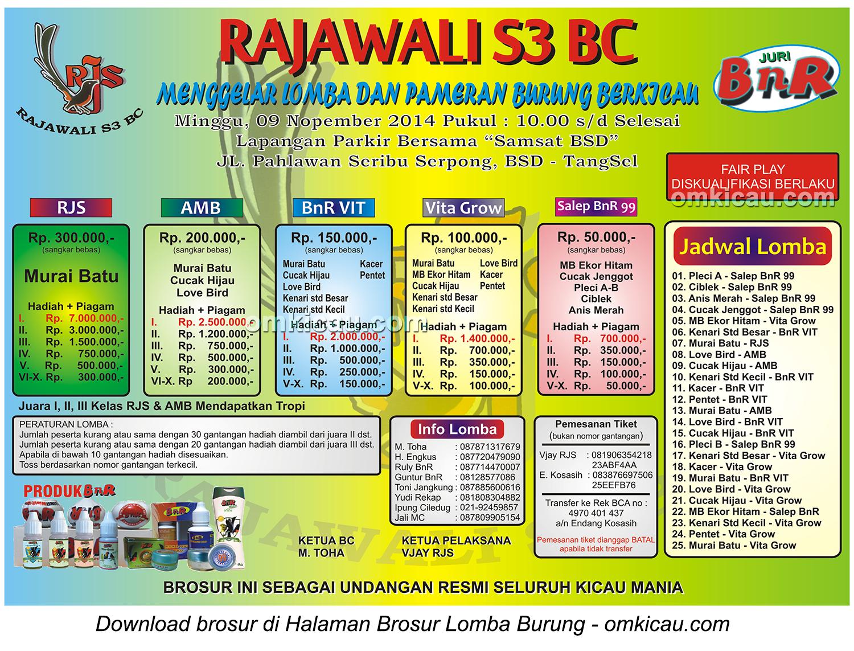 Brosur Lomba Burung Berkicau Rajawali S3 BC, Tangerang Selatan, 9 November 2014