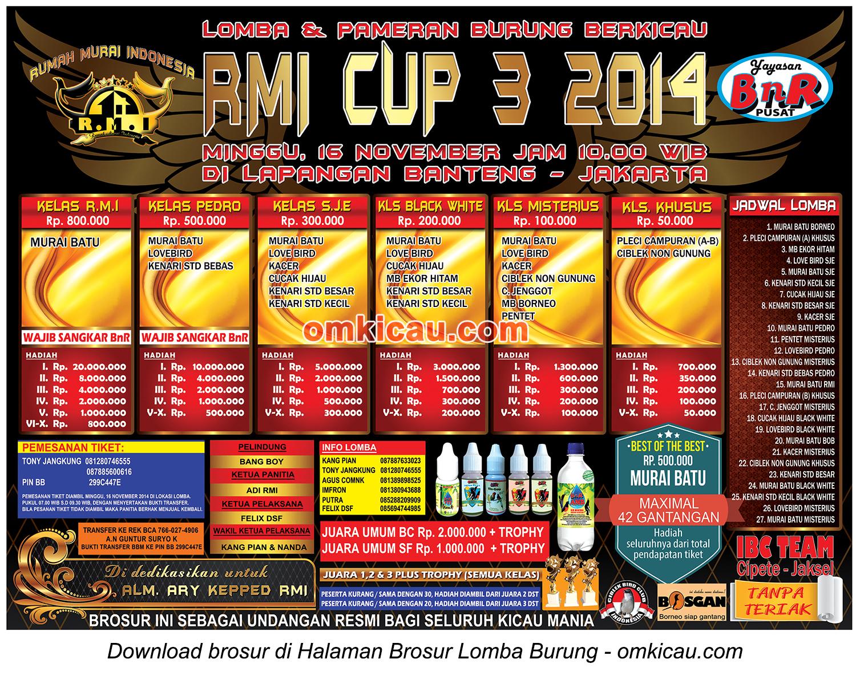 Brosur Lomba Burung Berkicau RMI Cup 3, Jakarta, 16 November 2014
