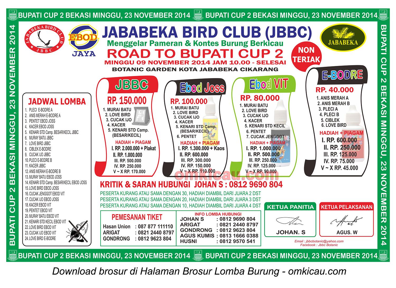 Brosur Lomba Burung Berkicau Road to Bupati Cup 2, Bekasi, 9 November 2014