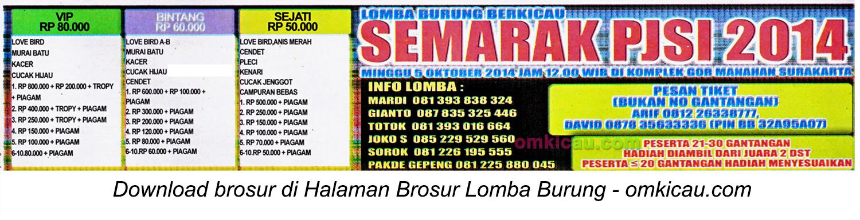 Brosur Lomba Burung Berkicau Semarak PJSI, Solo, 5 Oktober 2014