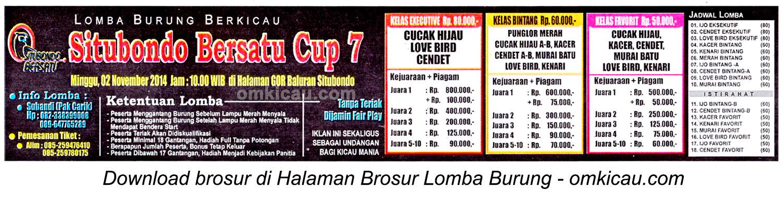 Brosur Lomba Burung Berkicau Situbondo Bersatu Cup 7, 2 November 2014